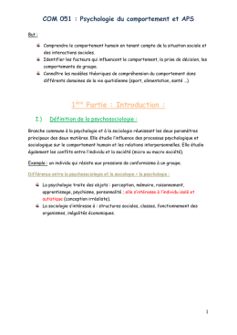 COM 051 : Psychologie du comportement et APS