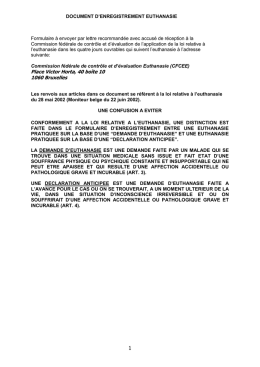 DOCUMENT d`enregistremEnt euthanasie
