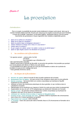 les conditions de la fécondation