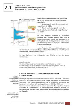 Explication des variations d`altitudes
