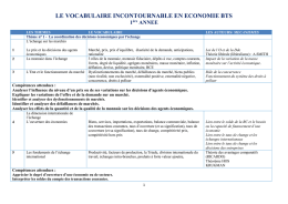 LE VOCABULAIRE INCONTOURNABLE EN ECONOMIE