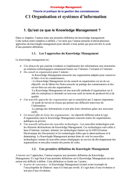 Les approches du knowledge management