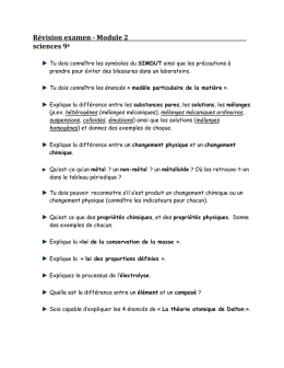 Révision examen - Module 2 sciences 9 e