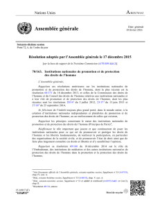 2015 GA Resolution on NHRIs (A/RES/70/163)