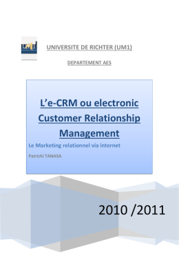L*e-CRM ou electronic Customer Relationship Management