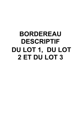 BORDEREAU DESCRIPTIF DU LOT 1 ET DU LOT 2