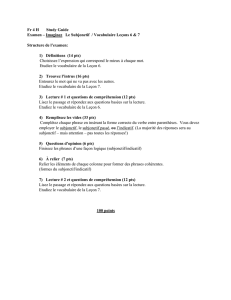 Fr 4 H Study Guide Examen – Imaginez Le Subjonctif / Vocabulaire