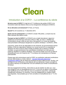 Introduction à la COP21