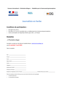 Journaliste en herbe Conditions de participation