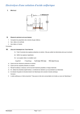 Electrolyse s`une solution d`acide sulfurique