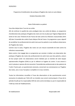 Note d`information aux patients - CCLIN Paris-Nord