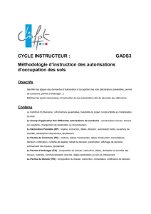 Méthodologie d`instruction des autorisations d`occupation des sols