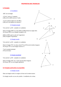 PROPRIETES DES TRIANGLES I) Triangles 1) Vocabulaire B C A