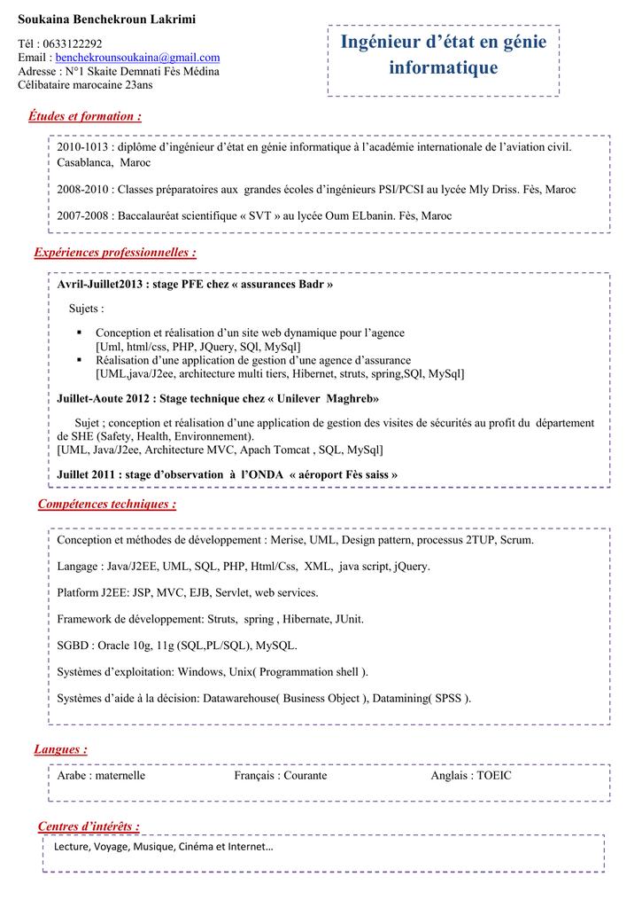 Cv Ingénieur Informatique Maroc