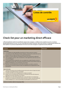Check-list pour un marketing direct efficace
