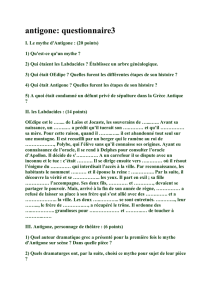 antigone: questionnaire3 I. Le mythe d`Antigone : (20 points) 1) Qu