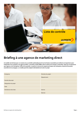 Briefing à une agence de marketing direct