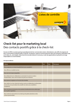 Check-list pour le marketing local