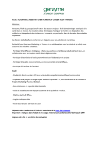 Poste : ALTERNANCE ASSISTANT CHEF DE PRODUIT CANCER