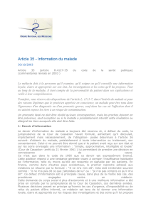 Article 35 - Information du malade