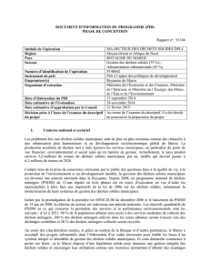 DOCUMENT D`INFORMATION DU PROGRAMME (PID) PHASE DE