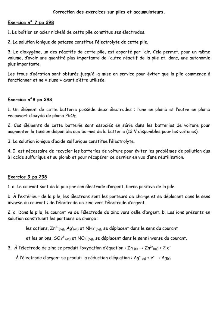 Correction Des Exercices Sur Piles Et Accumulateurs Exercice N 7
