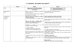 L`univers, du cycle 2 au cycle 4