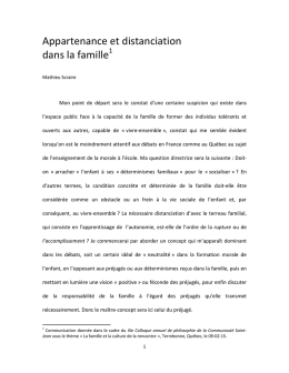 Appartenance et distanciation dans la famille