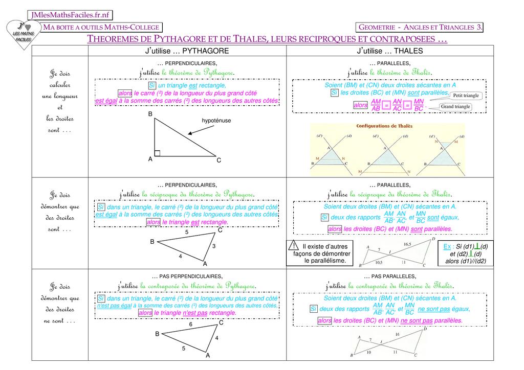 Devoir Maison De Math 3eme Thalès Et Pythagore | Ventana Blog