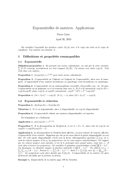 Exponentielles de matrices. Applications 1 Définitions