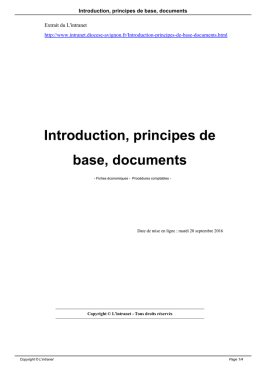 Introduction, principes de base, documents