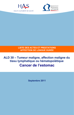 ALD cancer de l`estomac - Institut National Du Cancer
