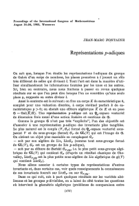 Représentations ^-adiques - International Mathematical Union