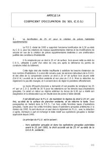 99 ARTICLE 14 COEFFICIENT D`OCCUPATION DU SOL (C.O.S.) 1 .
