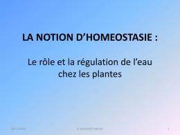 LA NOTION D`HOMEOSTASIE - UJF Valence