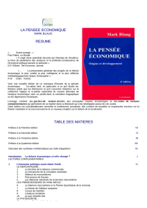 la pensee economique resume table des matieres