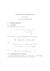Approximations diophantiennes 1. Fractions continues