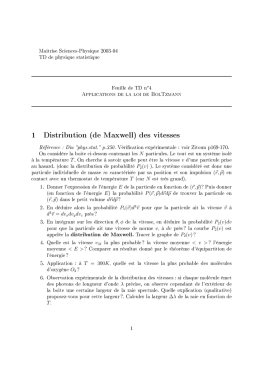 1 Distribution (de Maxwell) des vitesses
