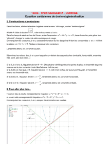 1èreS - TP02: GEOGEBRA - CORRIGE Equation cartésienne de