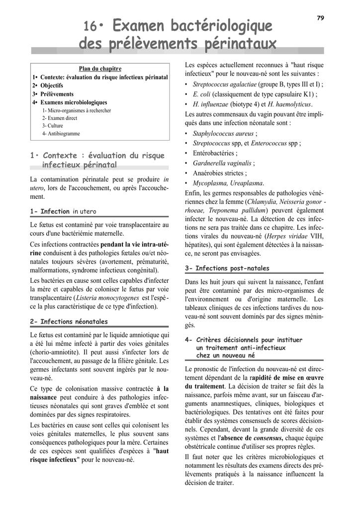 16• Examen bactériologique des prélèvements