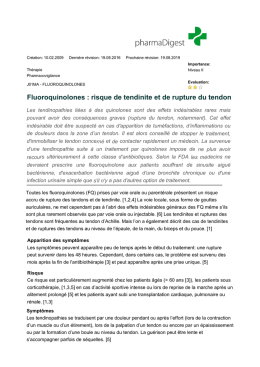 Fluoroquinolones : risque de tendinite et de rupture du tendon