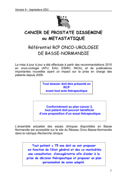 CANCER DE PROSTATE DISSEMINE ou METASTATIQUE
