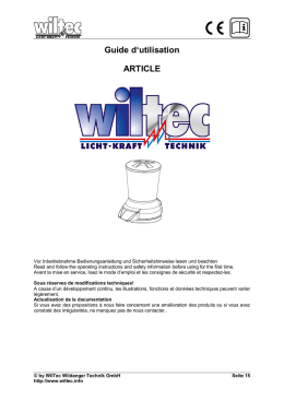 Guide d`utilisation ARTICLE - WilTec Wildanger Technik GmbH