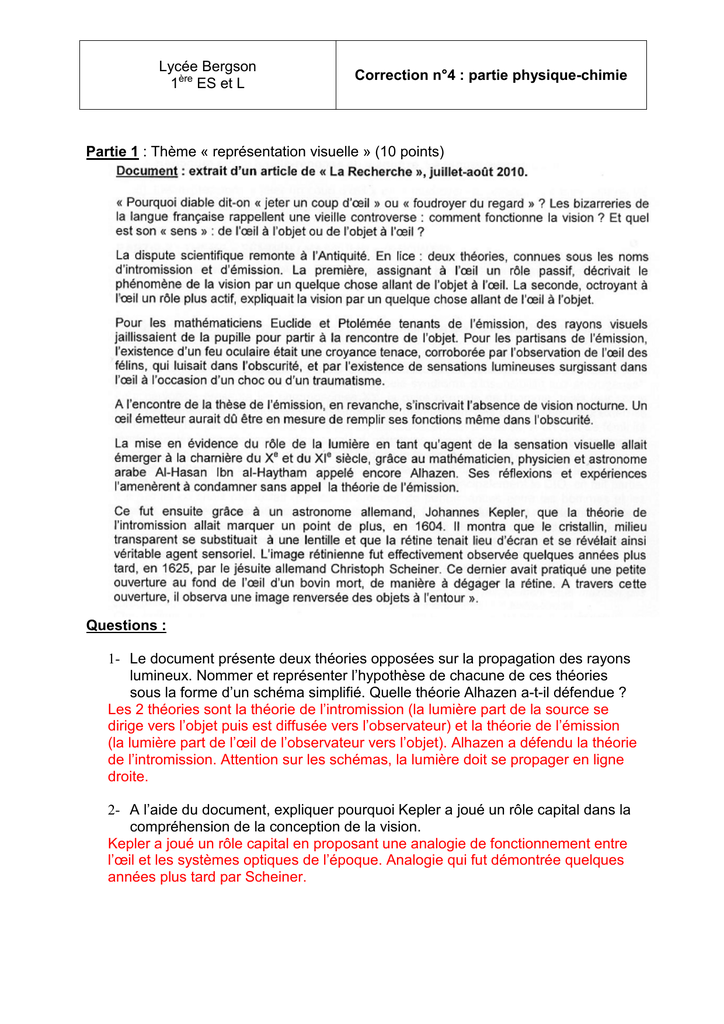 1 Le Document Presente Deux Theories Opposees Sur L