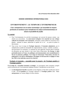 Conference internationale 2015 – Environnement – le temps de l