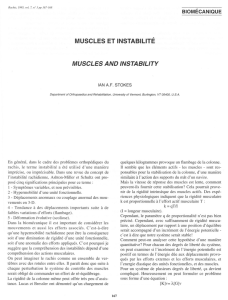 MUSCLES ET INSTABILITÉ MUSCLES AND INSTABILITY