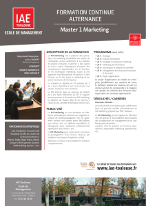 Master 1 Marketing FORMATION CONTINUE ALTERNANCE