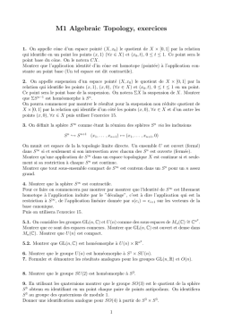 M1 Algebraic Topology, exercices