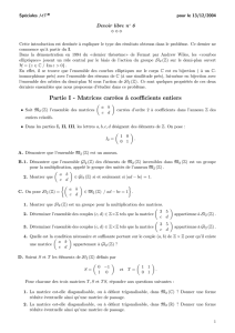 Partie I - Matrices carrées à coefficients entiers