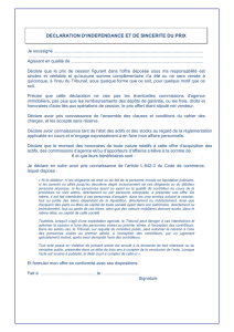 DECLARATION D`INDEPENDANCE ET DE SINCERITE DU PRIX